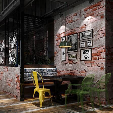Grosshandel Vintage Pvc Wasserdichte 3d Ziegelstein Tapete Tv Hintergrund Licht Tief Grau Ziegelrot Kaffee Bar Buro Wand Papierrolle Wohnkultur Von