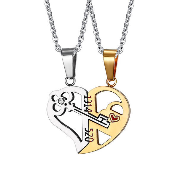 Key & Lock Heart Shaped Necklace for Women Men Gold and Black Stainless Steel Pendant Couple Necklaces Lover Friendship Jewelry 2pcs/ set