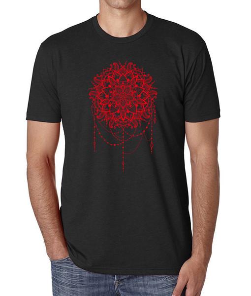 Rote indische Mandala-Kunst-schöne Männer druckten schwarzes Baumwoll-T-Shirt Spitzen-T-Shirt 2018 Markenkleidung-Slim Fit Printing