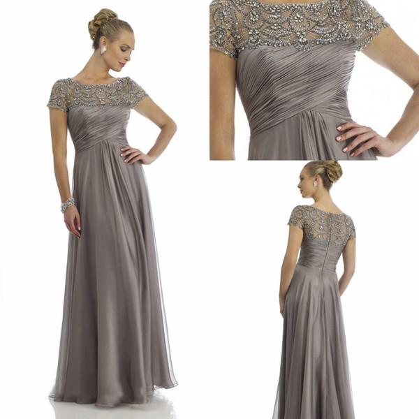 Vintage Sheer Crystal Chiffon Mother Of Bride Groom Dresses for Wedding Short Sleeve Rhinestone Ruffles Empire Scoop Neckline Everning Gowns