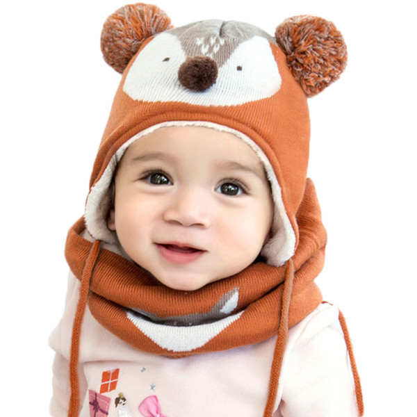 Autumn Winter Children Plus Velvet Hat Scarf Set Baby Lovely Cartoon Fox Print Knitted hat Kids Cap Collar Boy Girl Neck Warmer