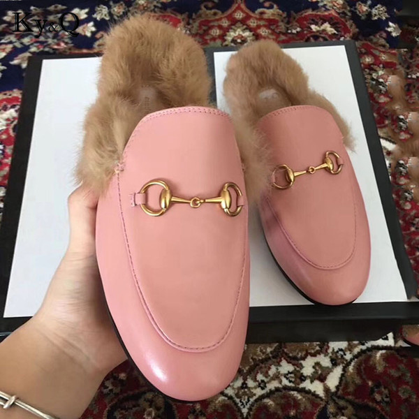 Women Brands wok Real Fur slippers Ladies Summer Casual Shoes 2018 Mules Shoes  Outside Slippers Low Heels Female Footwear Slides a7c90b38bb54