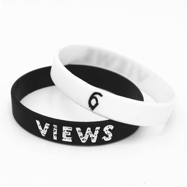 1PC Hot Sale 6 visualizações de borracha pulseira de silicone Black White Rap Música Bandas de silicone pulseiras Bangles Pulseira presentes SH176