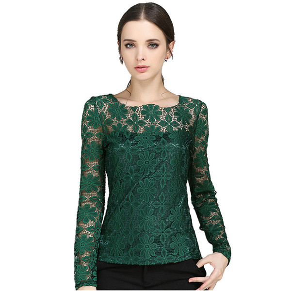 S-5XL Fashion New Autumn Winter Women Blouse Lace Long Sleeve Shirts Female Elegant Office Work Shirt Casual Blouses Tops ladies