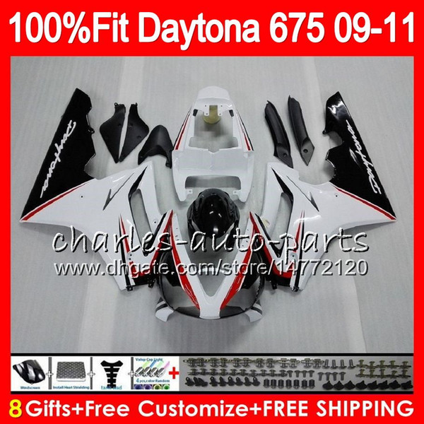 Injection For Triumph Daytona 675 09 10 11 12 black white Bodywork 107HM.12 Daytona-675 Daytona675 Daytona 675 2009 2010 2011 2012 Fairing