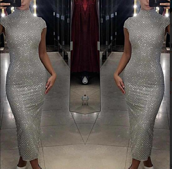 Evening dress Yousef aijasmi Long dress Short sleeve High Collar Ankie-Length Sequins Sheath Sliver Zuhair murad Kim kardashian