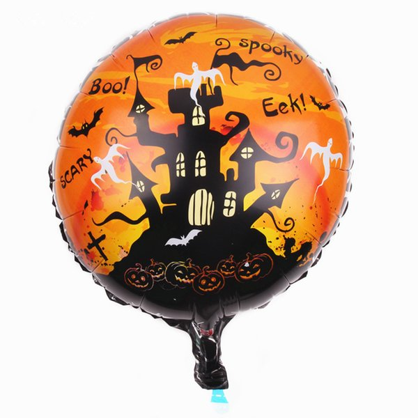 New Happy Halloweenwitch Bats castle Cemetery tombstone aluminum inflatable helium foil Balloon for children room decoration
