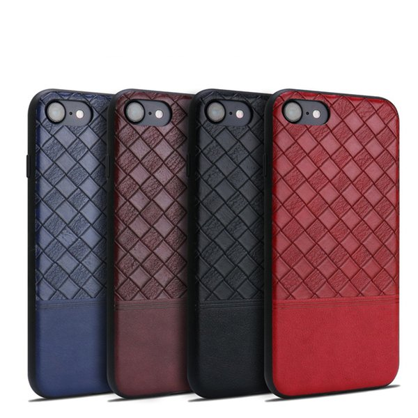 For iPhone X Phone Case Woven Pattern Solid Color Soft TPU+PU Leather UNBreak Cases Back Cover For iPhone 6s 7 8 Plus Free Shipping M07