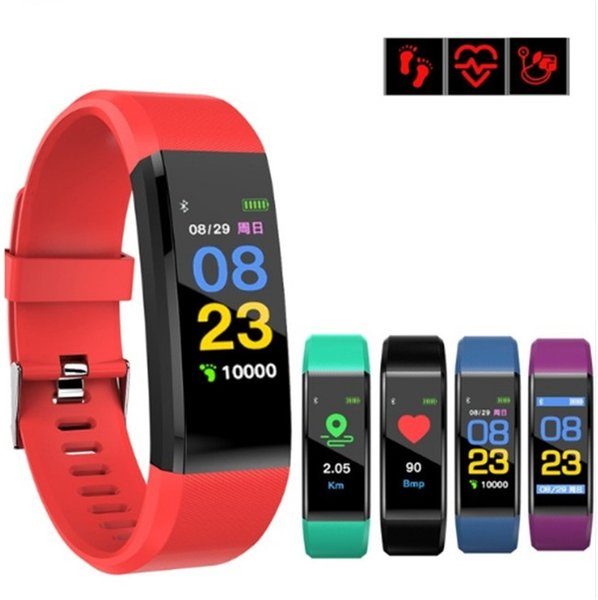 Fitbit id115 plu mart band bracelet color lcd creen fitne tracker pedometer heart rate blood pre ure monitor band wri tband watch