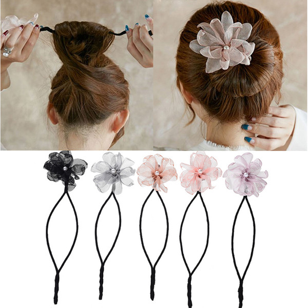 Woman Flower Donuts Twist Headband Magic Hair Bun Maker DIY Hairstyle Tool Pearl French Bud Dish Hair Accessories Sweet Hairband