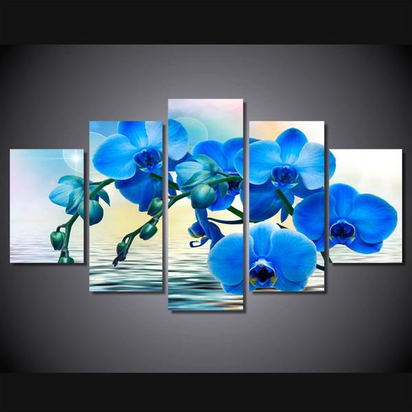 5 Pièce Toile Peinture Bleu Orchidée Fleurs Affiche image peinture home decor impression wall art