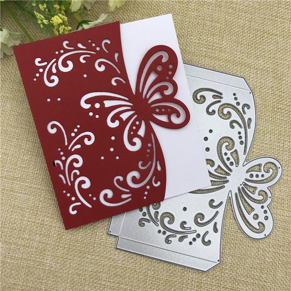 Sobre de la mariposa tarjeta de felicitación Troquelado de metal Plantilla Scrapbooking Álbum de fotos Tarjeta de papel Embossing Craft DIY