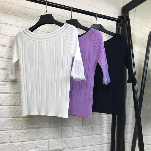 Compre Las Mujeres Forman Elegante Color Puro Suéter De Punto Tops ...