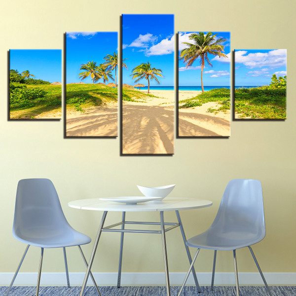 Wall Art Decor 5 Pieces Sunshine Beach Coconut Tree Seascape Canvas Pictures Painting HD Prints Poster Modular Living Room Frame