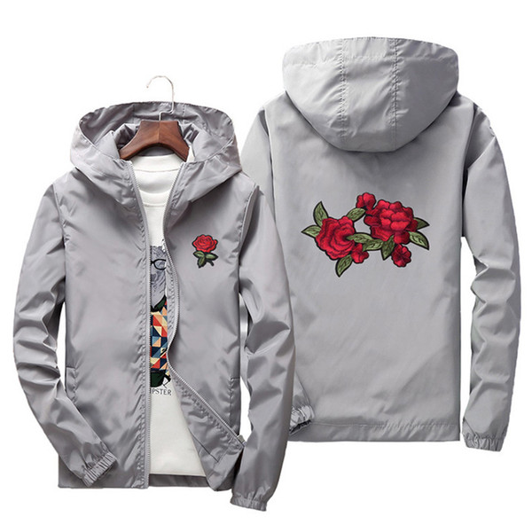 1a280c6cc2f4 NIANJEEP Embroidery Rose Flower windbreaker Jacket men Puls Size S-7XL  Hooded bomber jacket Skin Mens Jackets jaqueta masculina