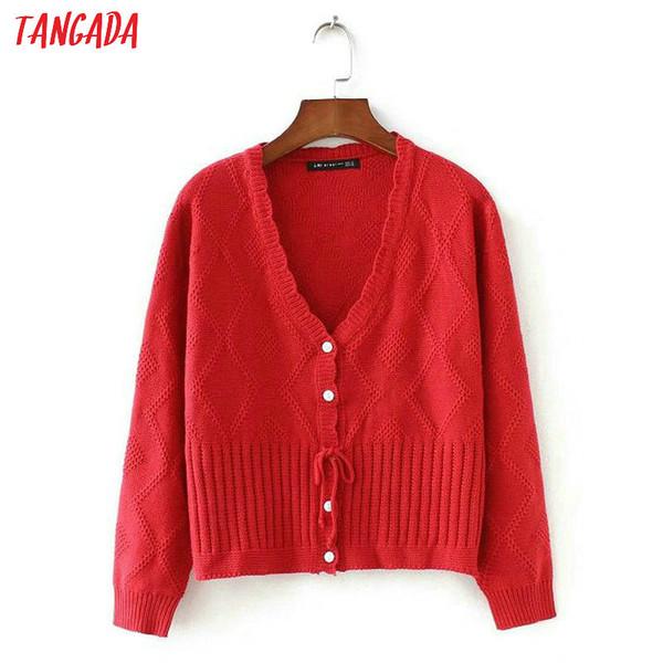 Tangada женщин красный свитер пальто сладкий французский стиль с длинным рукавом v шеи женский кардиган свитер элегантный верхняя одежда 2X03