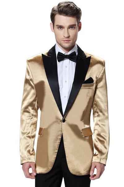 Brand New Shiny Gold 2 Piece Suit Men Wedding Tuxdos High Quality Groom Tuxedos With Black Peak Lapel Best Men Blazer(Jacket+Pants+Tie) 610