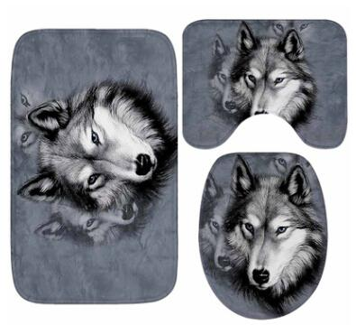 bathroom Mat Set Wolf Pattern Floor Rugs Non Slip Water Absorption Rug Cushion Toilet Seat Cover Bath Mat for Home Decoration