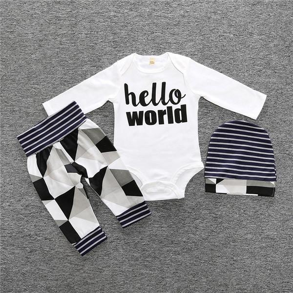 2018 Autumn Fashion boy baby clothing long sleeve letter T-shirt + pants + hat 3 pcs. / Costume infant girl clothing set