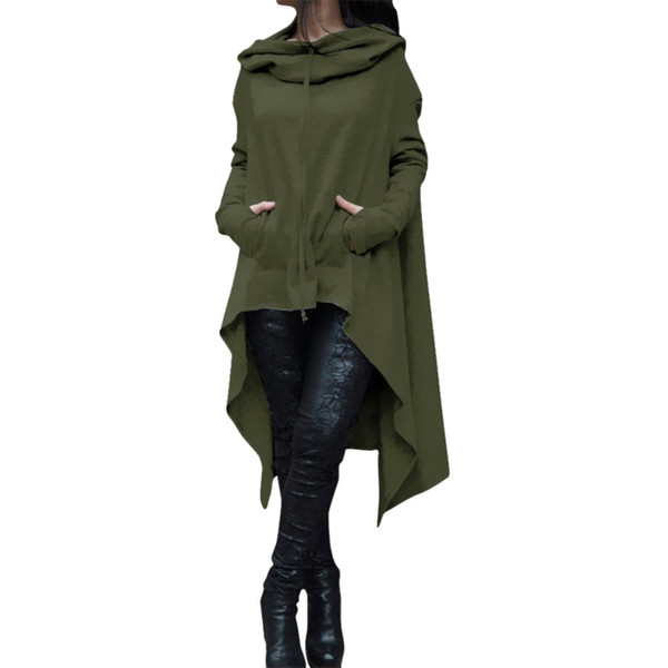 2017 Autumn Winter Trench Coat Women Casual Loose Long Coat Maxi Gothic Green Trench Ladies Coats Plus Size Female-coat