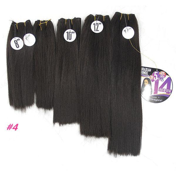 short synthetic hair bundles Yaki Straight Hair Weave Bundles dark brown Kinky Straight 8-14inch Black Synthetic Sew In Hair Extensions