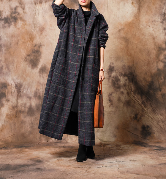 Women Plaid Retro Woolen Coat Ladies Plaid Loose Long Coat Outwear Female Winter Wool&Blends Overcoat 2018