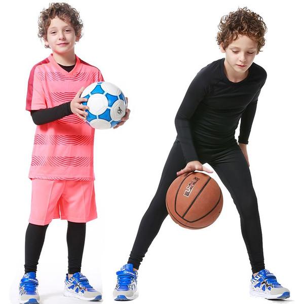 2017 New Kids Boys compressione runing pantaloni camicie set maglie survêtement calcio giovanile allenamento di calcio collant magro leggings