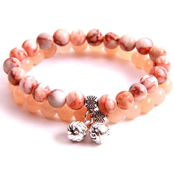 NCRHGL 8mm Beads Bracelet Volleyball Charm Red Vein/Pink Aventurine Natural Stone Beaded Bracelets Bangles Jewelry Women Men