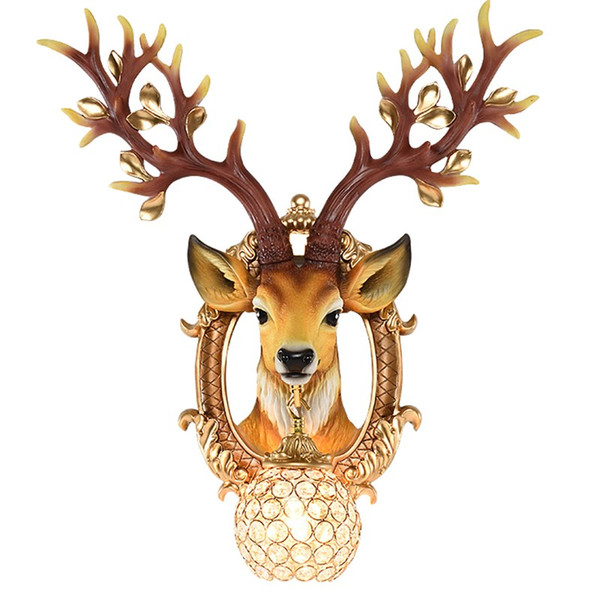 Classic LED K9 Crystal White Wall Lamp Lighting Fixture Resin Sika deer Wall Light Art Sconce For Bedroom Corridor lamp G677