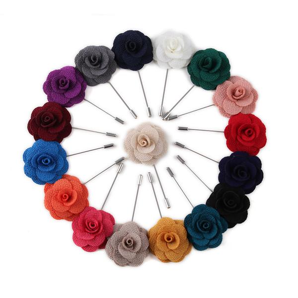 20 Colores Tela Camellia Broche Broche Pin Broches Broche Broche de Esmalte de Los Hombres de La Boda Partes del Partido Decoración