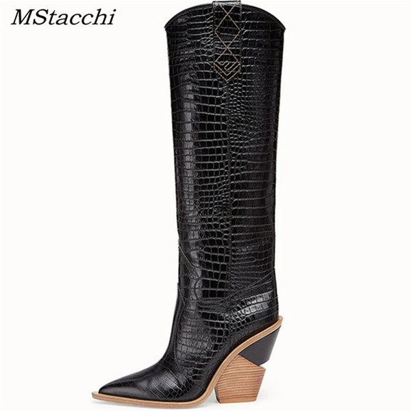 04a19357bb9 MStacchi 2019 New Fashion Embossing Plaid Runway Boots Women Knee High  Boots Pointed Toe Strange High Heel Ladies Chelsea