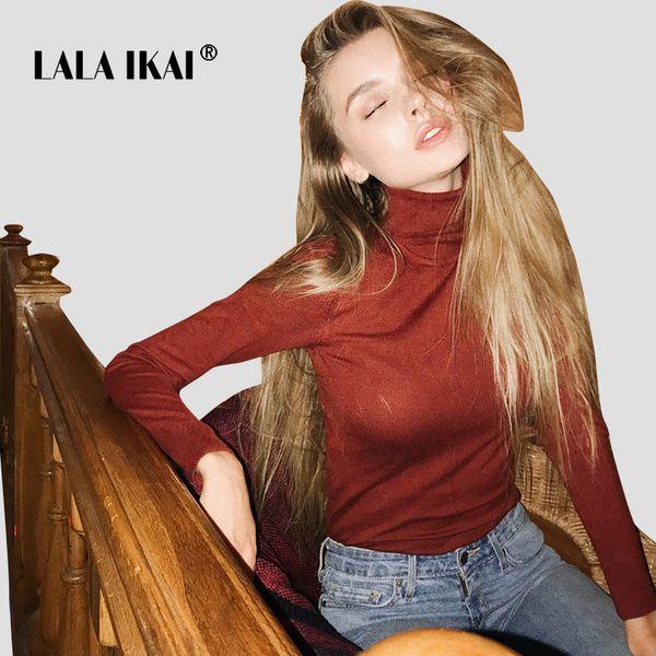 LALAIKAI High Street Tops Tee Women Ins Long Sleeve Turtleneck Ladies T-Shirts Sexy Reddish Brown Winter Tee Shirt SWA1699-47