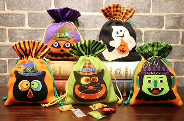 Halloween Candy Gift Bag Drawstrings Pouch Non Woven Gifts Bag Holder Party Halloween Decoration Supplies Dress Up Photo Props
