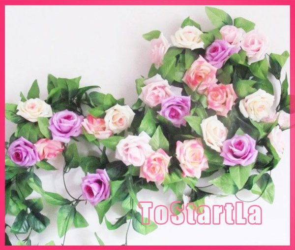 8 ft artificial rose leaves vines silk flower Artificial Rose Camellia Flower Garlands Wedding Photography Christmas decorative