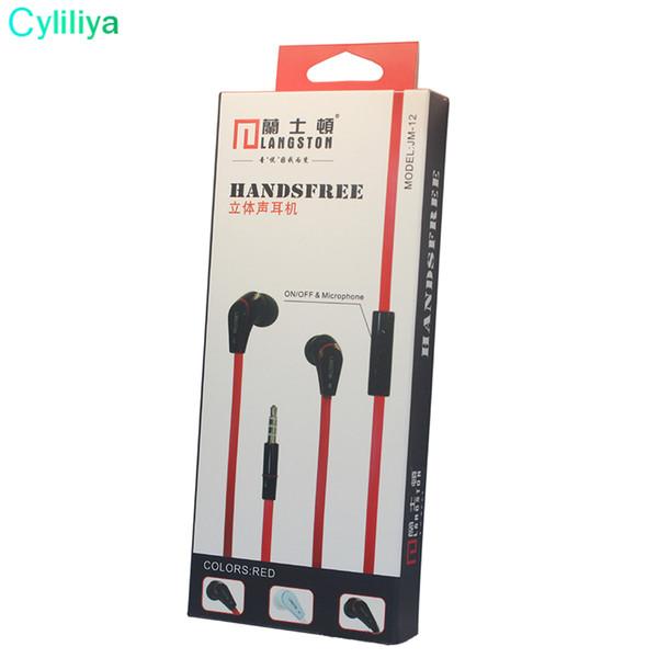 Wholesale 100pcs/lot Langsdom JM12 Earphone Smart Stereo HIFI In-ear Earbuds 3.5MM Noodles Line Wired Earphones With Microphone