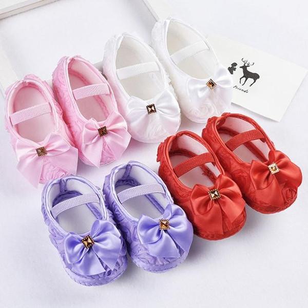 Gül yaylar kaymaz yumuşak alt adım bebek ayakkabı Elastik Band Yürüyüş kaymaz Tabanlar Bebek Ilk Yürüteç El Yapımı Toddler Ayakkabı