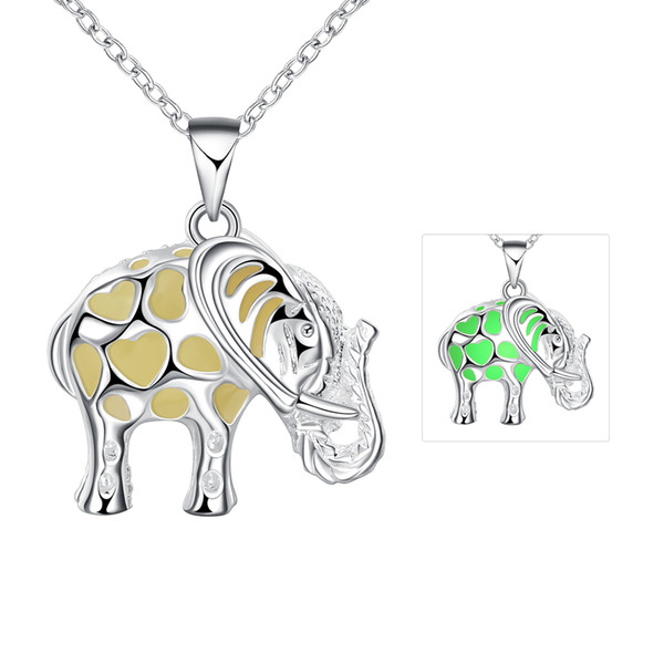 Party Gift 925 Silver Pendant Necklace Lovely fashion elephant night light necklace 46cm Chains Good Quality Free Shipping n017