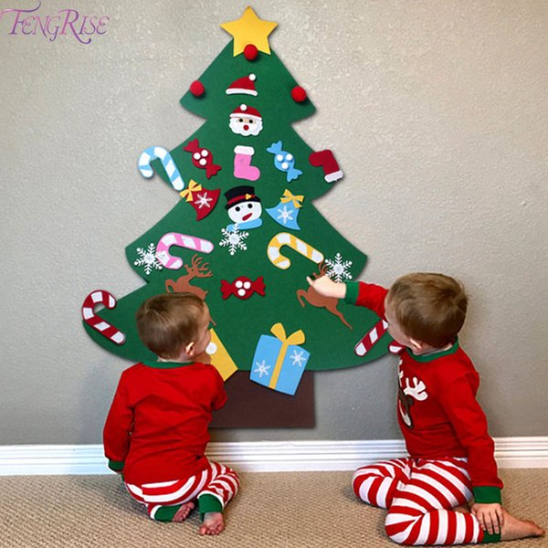FENGRISE DIY Felt Christmas Tree Kids Artificial Tree Ornaments Christmas Tree Stand Decorations Gifts New Year Xmas Decoration