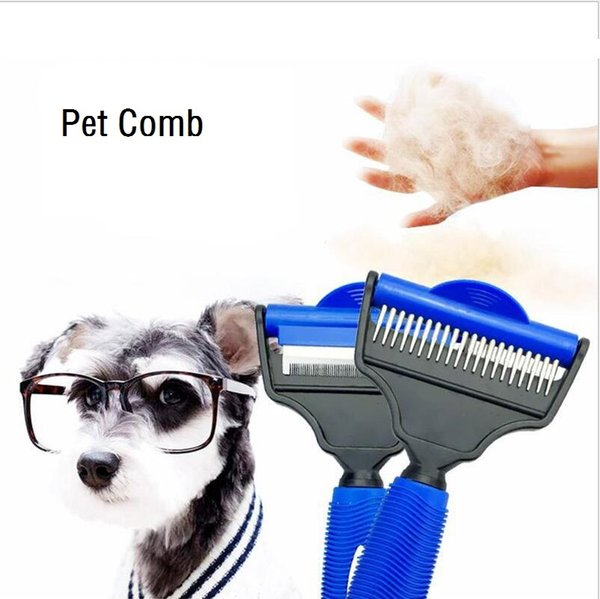 Combs Dog Hair Remover Cat Brush Grooming Dual Use Pet Hair Brush Soft Dog Comb Dogs Grooming Tools 2 Color