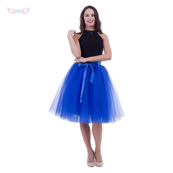 women rolay blue Tulle skirt adult tutu, 7 layer tulle skirt bridal shower tutu dance bridesmai skirts Sexy high waist
