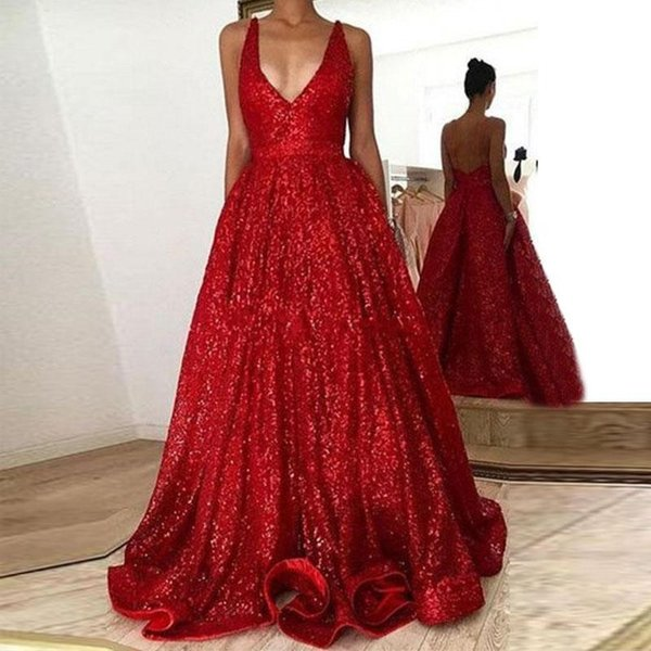 Red Sequins Ball Gown 2019 Prom Dresses Deep V Neck Spaghetti Straps Sequined Floor Length Backless Long Formal Sexy Evening Gowns Party