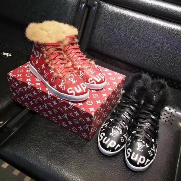 Cowhide rabbit fur boots Monk Straps high-top sneaker Women Riding Rain Boot BOOTS BOOTIES SNEAKERS Dress Shoes