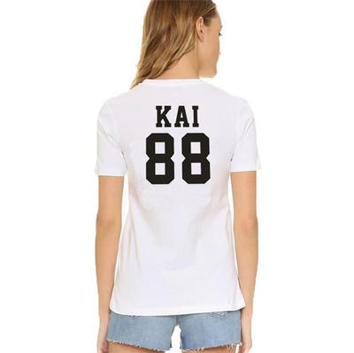 Kai t shirt Cool words EXO group 88 Kim Jong In short sleeve gown Street leisure tees Unisex clothing Pure color cotton Tshirt