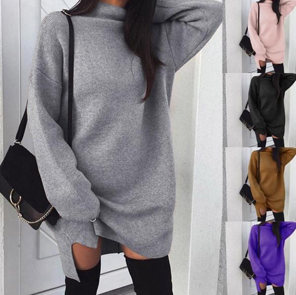 Mulheres outono e inverno estilo de gola alta camisola dress solto cor sólida longo tricô fenda dress gola para senhora