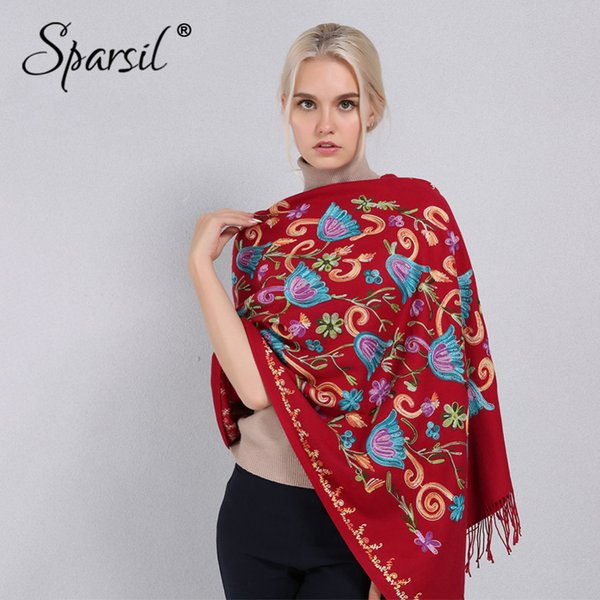 Sparsil Women Cashmere Embroidery Pashmina Long Winter Scarf Soft Tassel Warm Wraps Knitted Floral Female Autumn Scarves S18101904