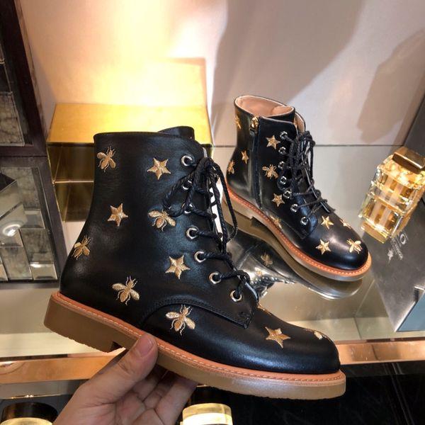 2018 осень и зима новая мода дамы ботильоны роскошные бренды женский Мартин сапоги дизайнер стиль Star bee дамы черный кожаные сапоги