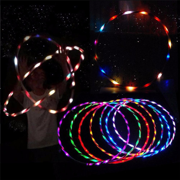 Free Shipping 90cm LED Glow Hula Hoop Performance Hoop Sports Toys Loose Weight Kids Q0618