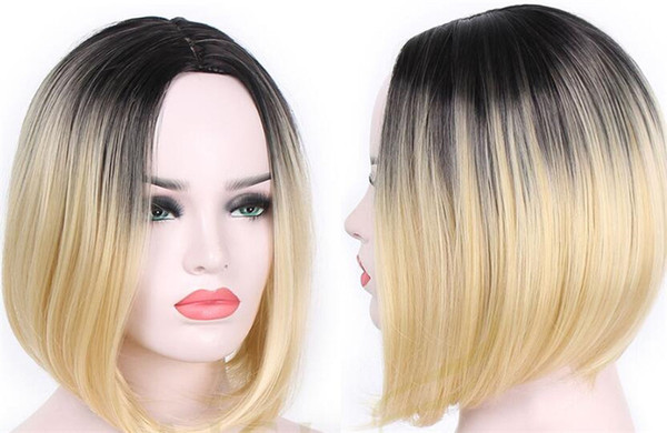Ombre Color Black 1b 613 Blonde Lace Front Human Hair Wigs For Women Remy Hair Short Cut Bob Wigs Natural Hairline