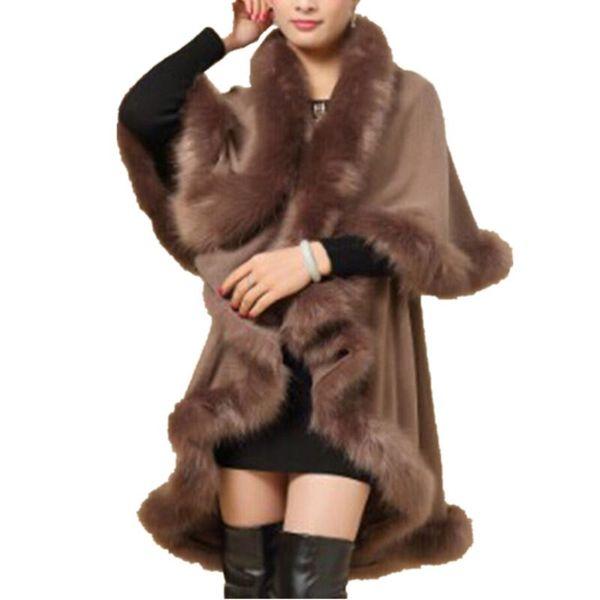 2016 New Women Knitting Wool Cloak European Winter Style High Quality Faux Fur Collar Coat Fashion Ladies Warm Coat CT007