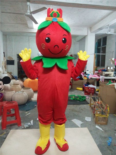 Adult size wolfberry fruit Mascot Costume Halloween Christmas Chinese RED wolfberry fruit Carnival Dress Full Body Props Outfit
